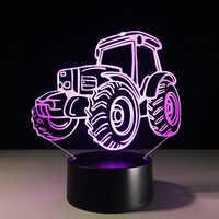 3D décor lumière moteur voiture tracteur forme USB Charge tactile interrupteur lampe 7 coloré enfants veilleuse livraison directe chaude nouveauté cadeaux