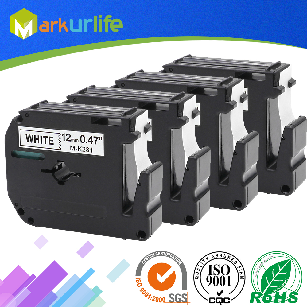 4 PCS/Lot 12mm*8m M-K231 Compatible Brother M Tapes Label cartridge M-K231 MK231 Mk 231 for Brother P touch printer PT100 PT65