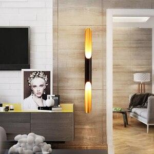 Image 2 - מודרני קיר אור מנורות LED עד למטה אלומיניום צינור כנף 2 אורות שחור זהב נורדי מנורת קיר אור קבועה