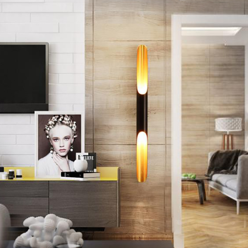Modern wall light lamp sconce LED up down aluminum pipe wing 2 lights black golden nordic wall lamp light fixture
