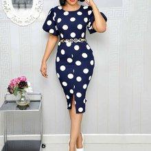 Summer Vintage Office Lady White Elegant Party Women Midi Dresses Bodycon Polka Dots Print Split Female Retro African Dress polka dots split day dress