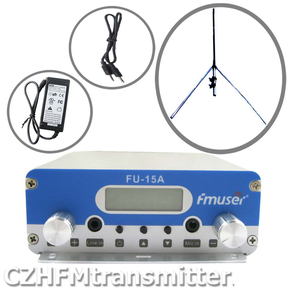 FMUSER FU-15A V1.0 FM stereo PLL broadcast transmitter+1/4 wave gp antenna+power supply+ audio cable 87.5-108MHZ cze 7c 7watt stereo lcd broadcast radio station fm transmitter 12v adapter antenna cable