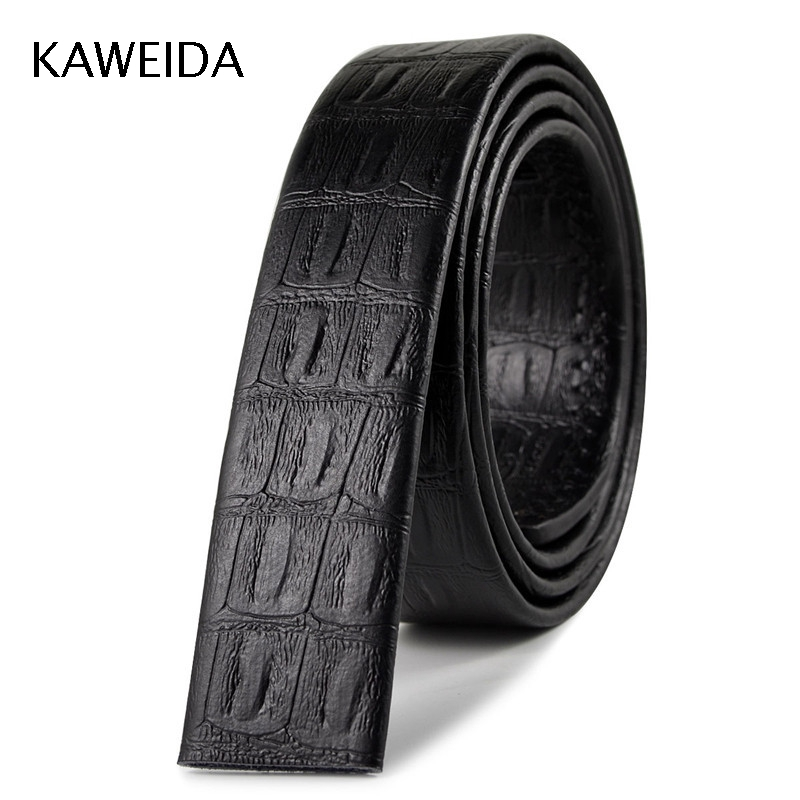 KAWEIDA 3.5cm Wide Cowskin Men's Genuine Leather No Without Buckle Waist Belt For Automatic Buckle Body Black Belts Kemer Cinto