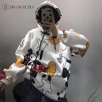 Korean version of 2018 winter clothes new Mickey hoodie loose long sleeved Hoodies, Sweatshirts women