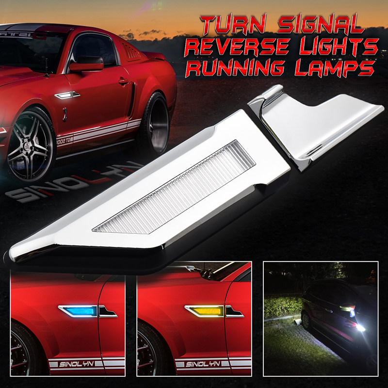 цена на Switchback LED Light Side Marker Lamps Turn Signal+DRL+ Reverse Parking Lights White/Amber/Blue Car Auto Fender Lamps Universal