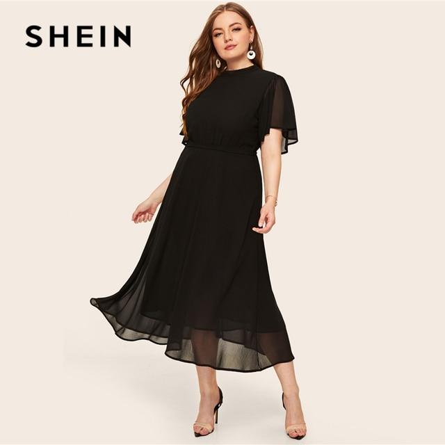 SHEIN Plus Size Black Tie Back Flutter Sleeve Dress 2019 Women Summer Elegant Stand Collar High Waist A Line Plus Long Dresses 2