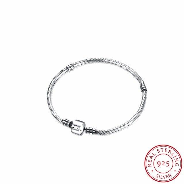 Luxo 100% Corrente de Prata Esterlina 925 Charme Beads Fit Pan Pulseira Charme para As Mulheres Autênticas Originais DIY Presente Jóias H017