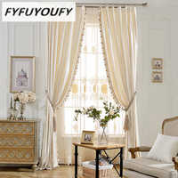 Modern luxury elegant Solid curtain Window blinds Kitchen curtain for Living Room French Windows curtains can Customized