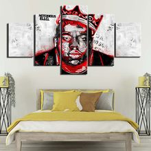 Painting on Canvas The Notorious B I G Famous Person music Posters and Prints 5 Panels Wall Pictures for Living Room Home Décor the notorious b i g big poppa