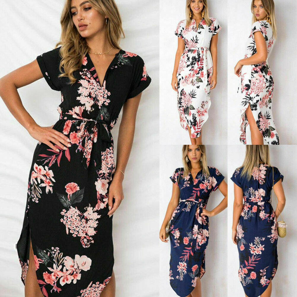 Fashion Women Boho Floral Printed Long Maxi Dress Ladies Party Evening Summer Beach Sundress Holiday S-XXXL