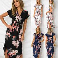Mode Frauen Boho Blumen Gedruckt Lange Maxi Kleid Damen Party Abend Sommer Strand Sommerkleid Ferien S-XXXL