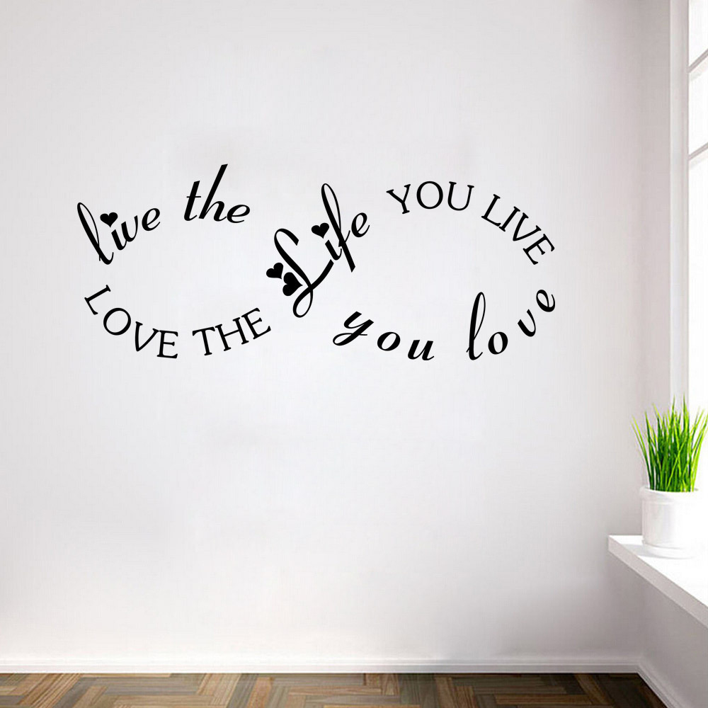 love the life you live quote creative design wall decal for living room home removable waterproof