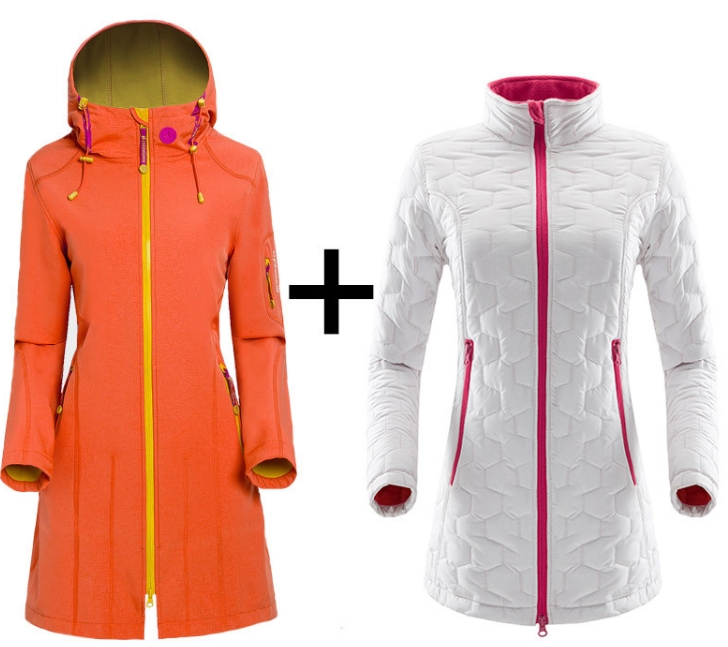 Fashion New Outdoor Sports Women In The Long Soft-shell Stormfront Two-piece Camping Windproof Waterproof Thermal Snowsuit