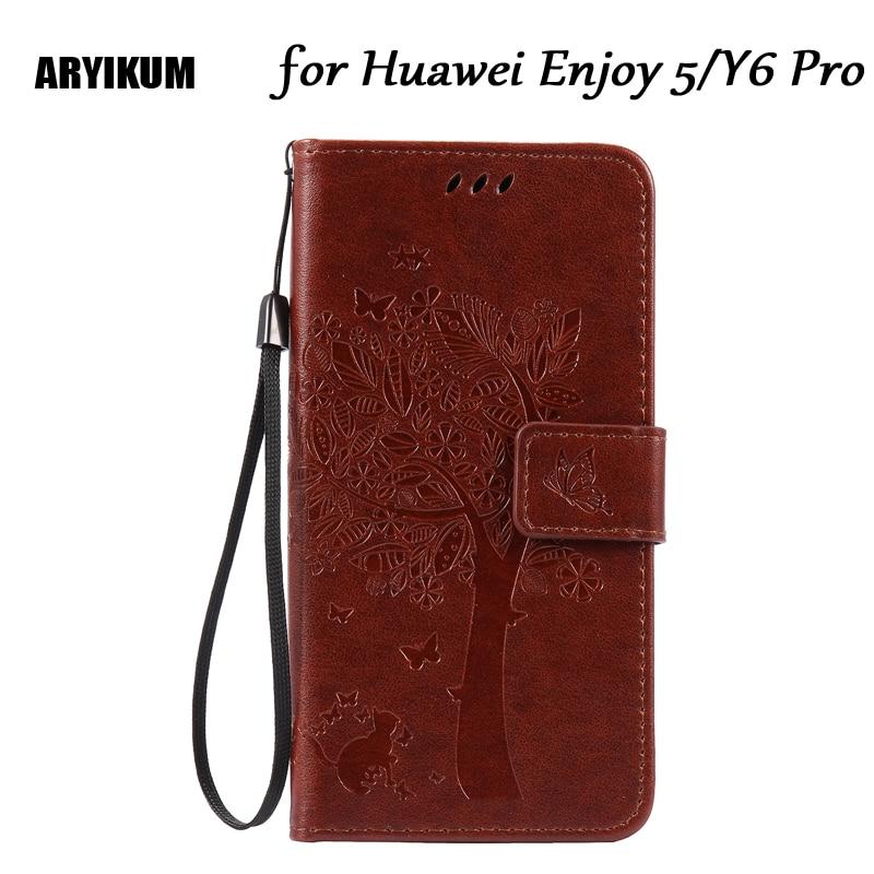 Aryikum искусственная кожа для Coque Huawei Y6 Pro Флип Бумажник крышка мягкая TPU силиконовая чехол для телефона Huawei наслаждаться 5 TIT-AL00