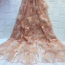 Cassiel French Nigerian Lace Fabrics High Quality 3D African Laces Fabric Wedding Beads and Feather Tulle