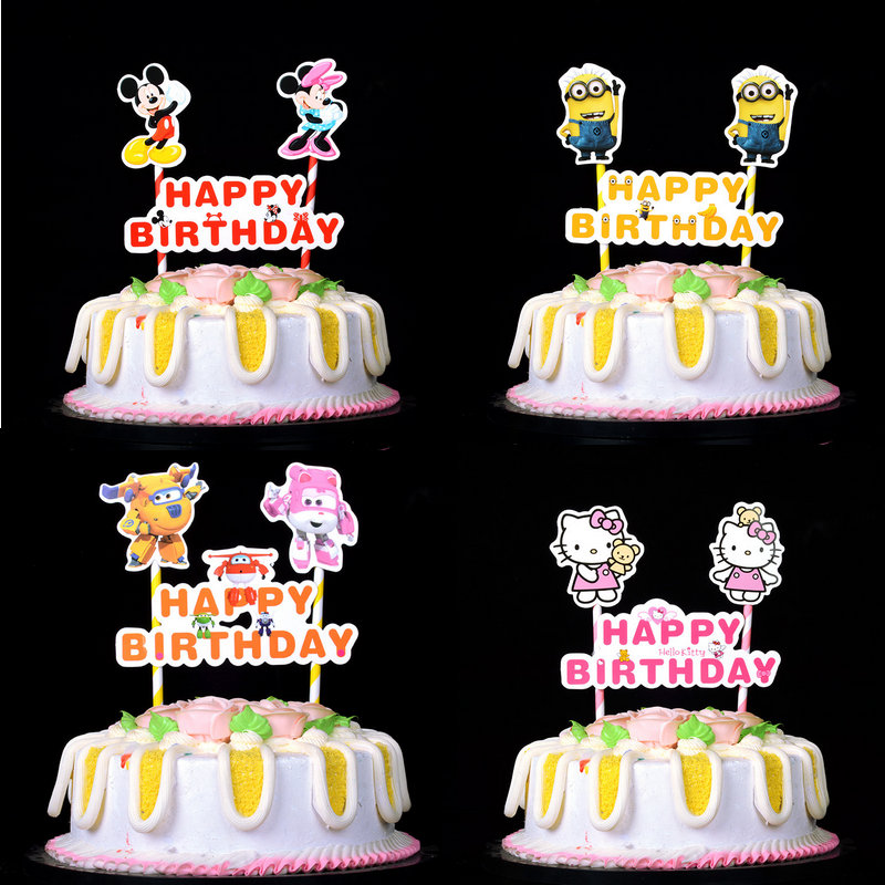 1set Mickey Minnie Mouse Minions <font><b>cat</b></font> pig Cake Flags Happy Birthday <font><b>Cupcake</b></font> <font><b>Topper</b></font> Flags Baby Kids Birthday Party Cake Decoration image