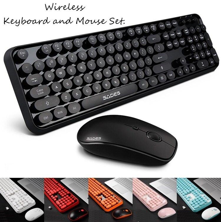 White Green Round Punk Keycap Wireless Keyboard Mute Power Saving Wireless Mouse Set Computer Gaming Accessory Wireless Keyboard Mouse Kit