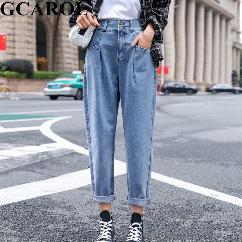 GCAROL Preppy Style Mid Waist Retro Old Pants Elastic Waist Wide Leg Pants Ankle Length Streetwear Denim Jeans Plus Size 25-32