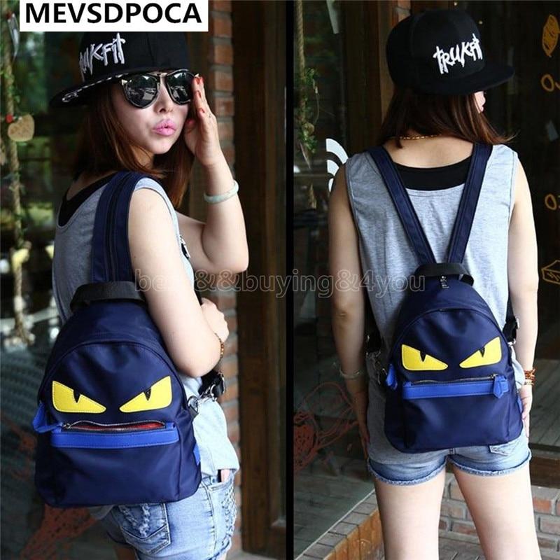 MEVSDPOCA Demon Eyes Backpack Retro Nylon Schoolbag For Teenagers Istitute Wind Miyahouse