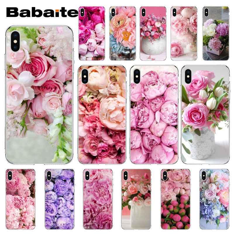 Babaite elegante rosa roxo peônia no vaso capa de telefone para iphone 11 pro 11pro max 8 7 6 s plus x xs max 5 5S se xr