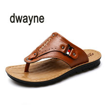 b7b4658462bd 2018 Hot Sale Fashion Breathable Summer Men Leather Slides Sandals Shoes  Classical Male Italian Designer Sandals
