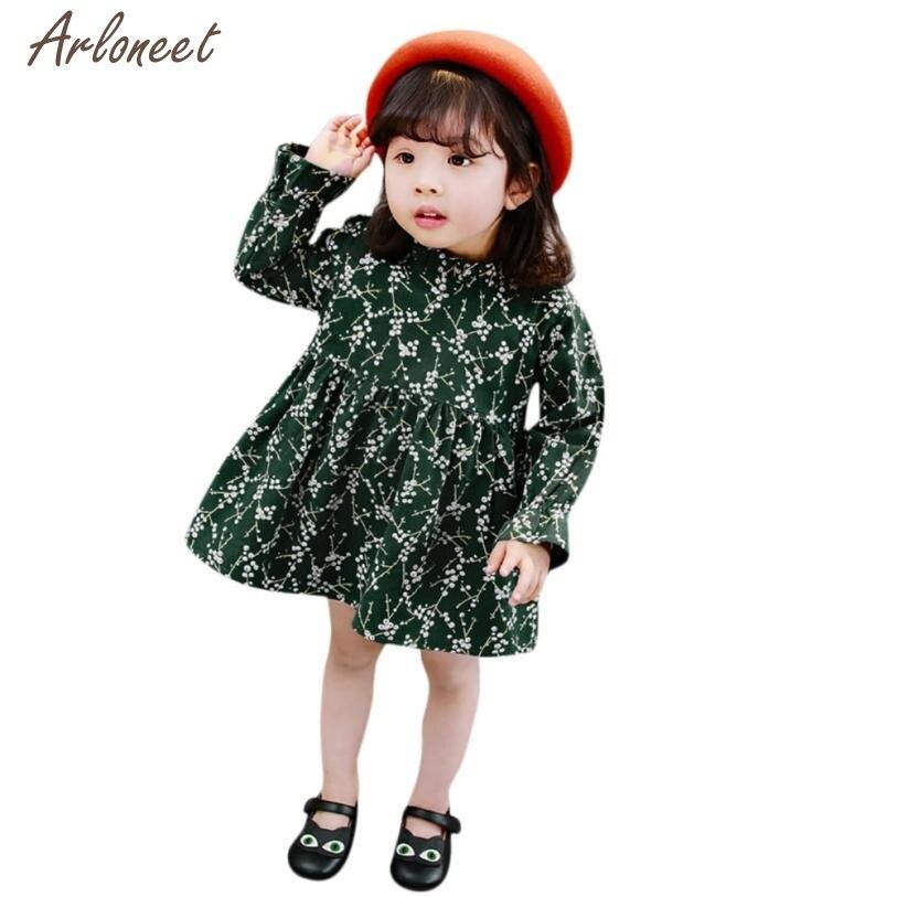 2018 baby dress long sleeve print Peter pan Collar Puff Sleeve Baby dress girl Autumn JAN26