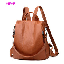 2019 Retro Women Leather Backpack College Preppy School Bag for Student Laptop Girls Ladies Daily Back Pack Shop Trip Anti-theft