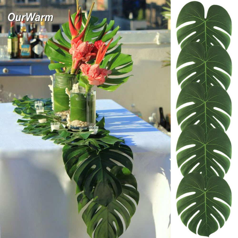 Ourwarm 12Pcs Artificial Palm Leaves Table Runner For Wedding Hawaiian Luau Theme Party Supplies Table Decoration Summer Party
