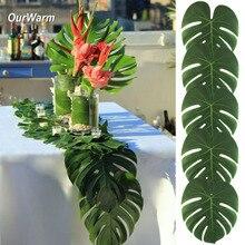 Ourwarm camino de mesa con hojas de palmera artificiales para boda, suministros para fiestas temáticas de Luau Hawaiano, decoración de mesa, fiesta de verano, 12 Uds.