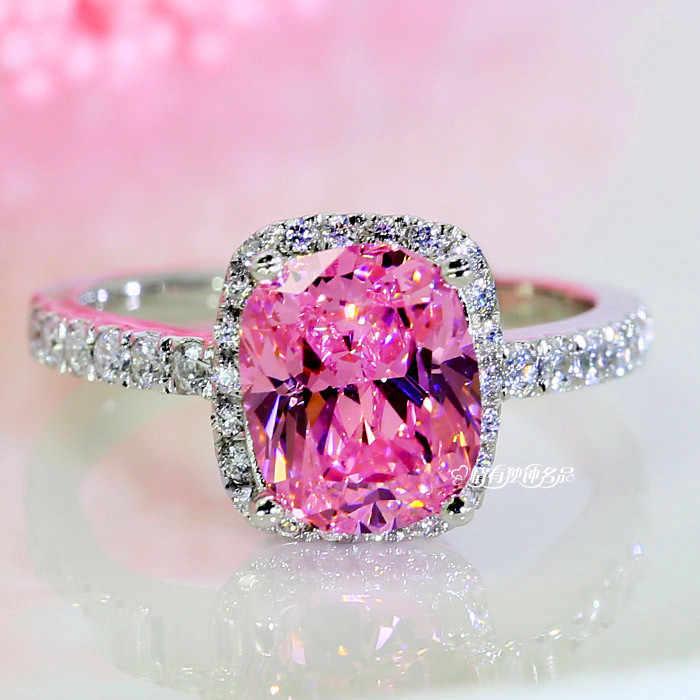 Роскошный женский хрусталь, циркон, камень, Кольцо Boho, 925 серебро, белый, розовый, желтый, кольцо, обручальные кольца для женщин