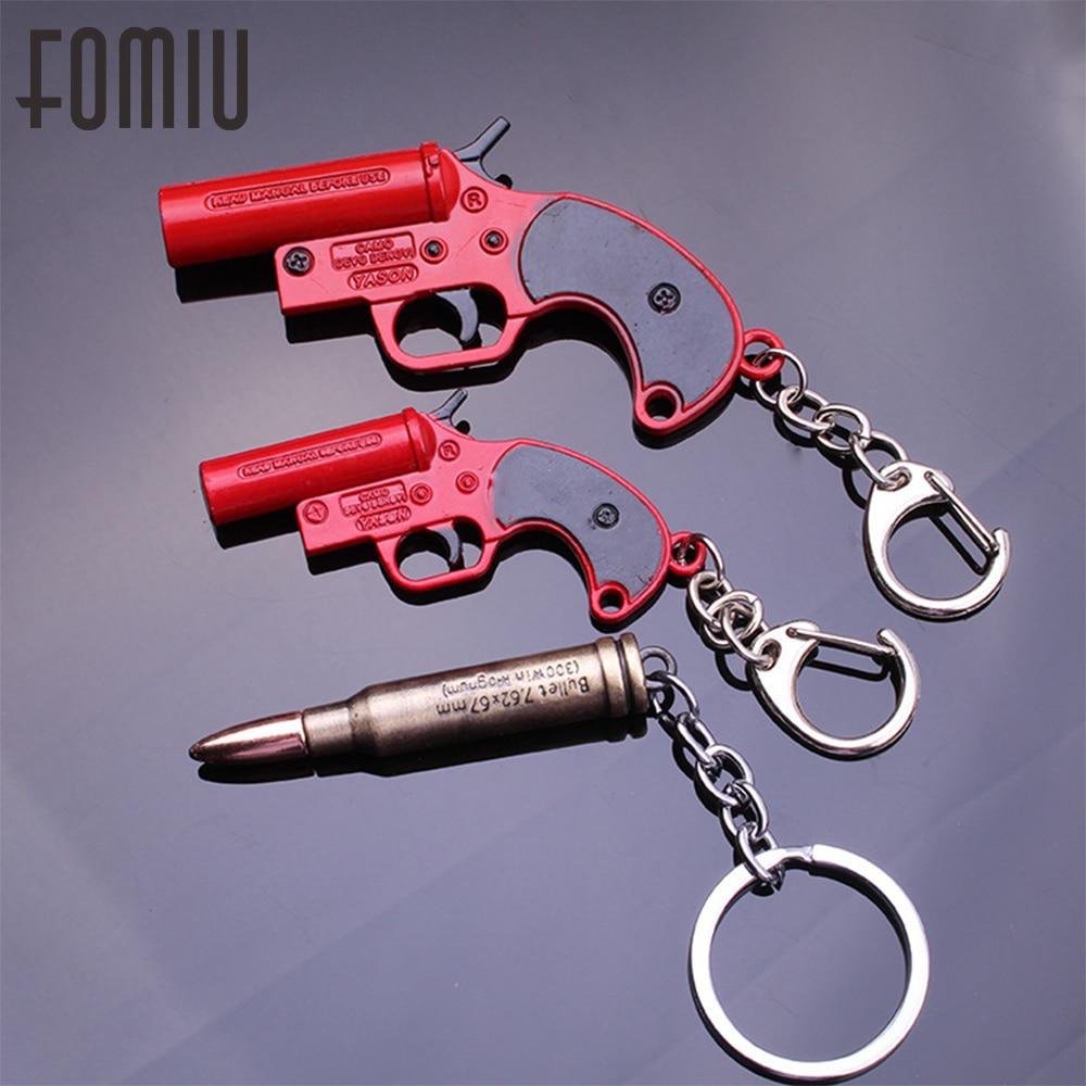 Hot Game PUBG Signal Gun Keychain PLAYERUNKNOWNS BATTLEGROUNDS Accessories 7.62caliber Bullets Key Ring Pendant Men's Gift