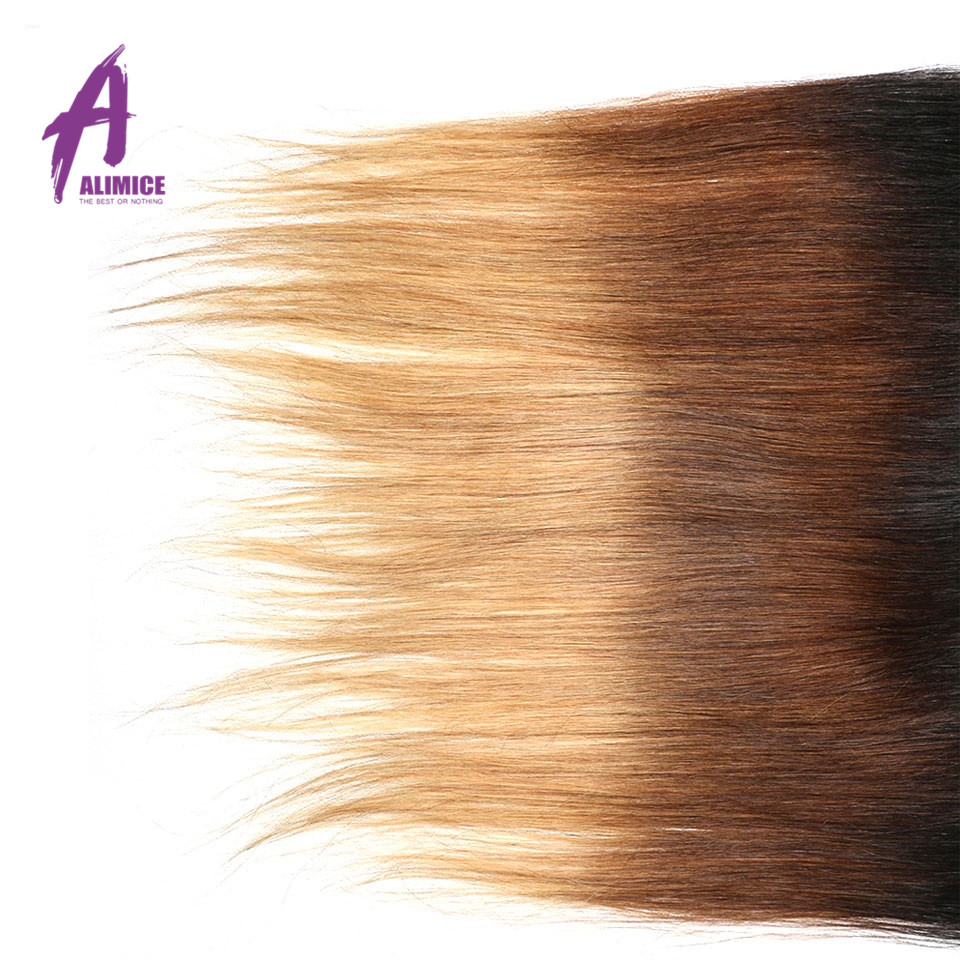 Ombre Peruvian Straight Lace Frontal 3 Tones T1B427 Human Hair Closure With Baby Hair T1B430 Non Remy 8-24inch Alimice  (3)
