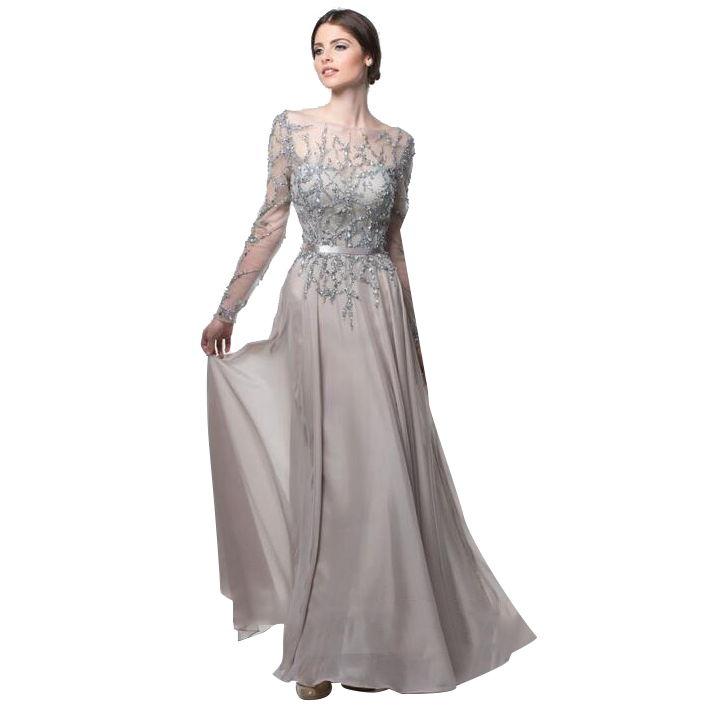 Silver/Brown Mother Of The Bride Dress For Wedding 2017
