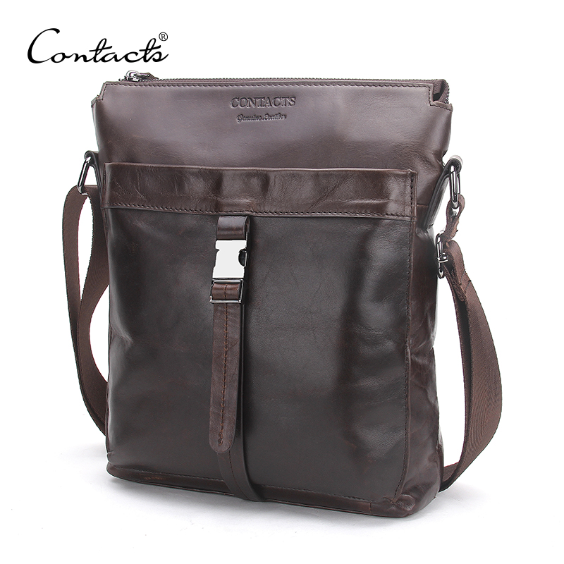CONTACT S Genuine Leather Men Messenger Bags Oil Wax Leather Male Bag Man Casual Crossbody Shoulder