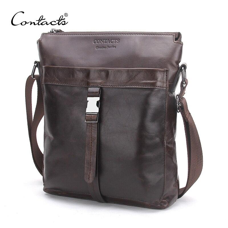 CONTACT'S en cuir véritable hommes Messenger sacs huile cire cuir homme sac décontracté bandoulière sac à bandoulière sacs de voyage pour hommes