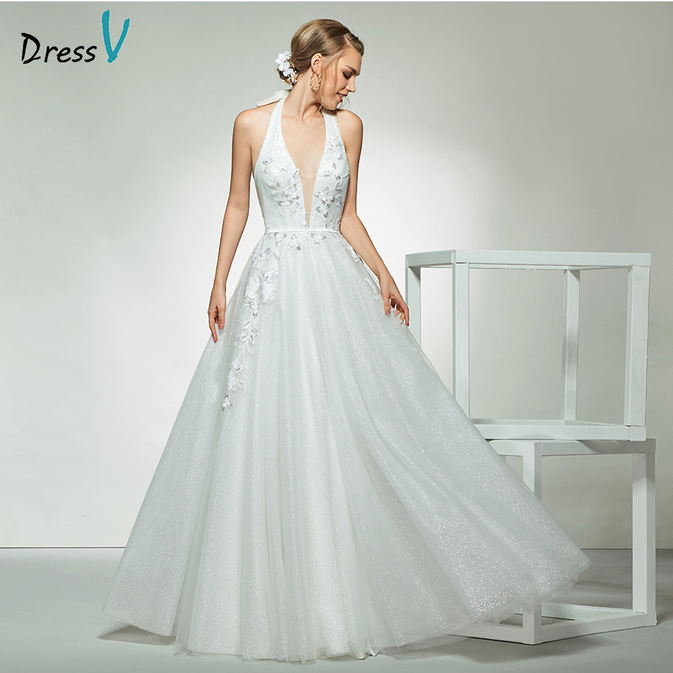 Dressv elegant ivory halter neck sleeveless appliques ...Halter Top Backless Wedding Dresses