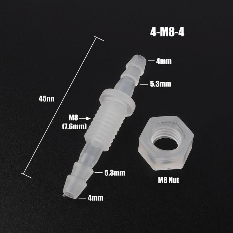 5pcs/lot 3~8mm M6~M10 PP Thread Hex Nut PP Straight Connectors Aquarium Fish Tank Adapter Air Pump Hose Fittings Pagoda Joints