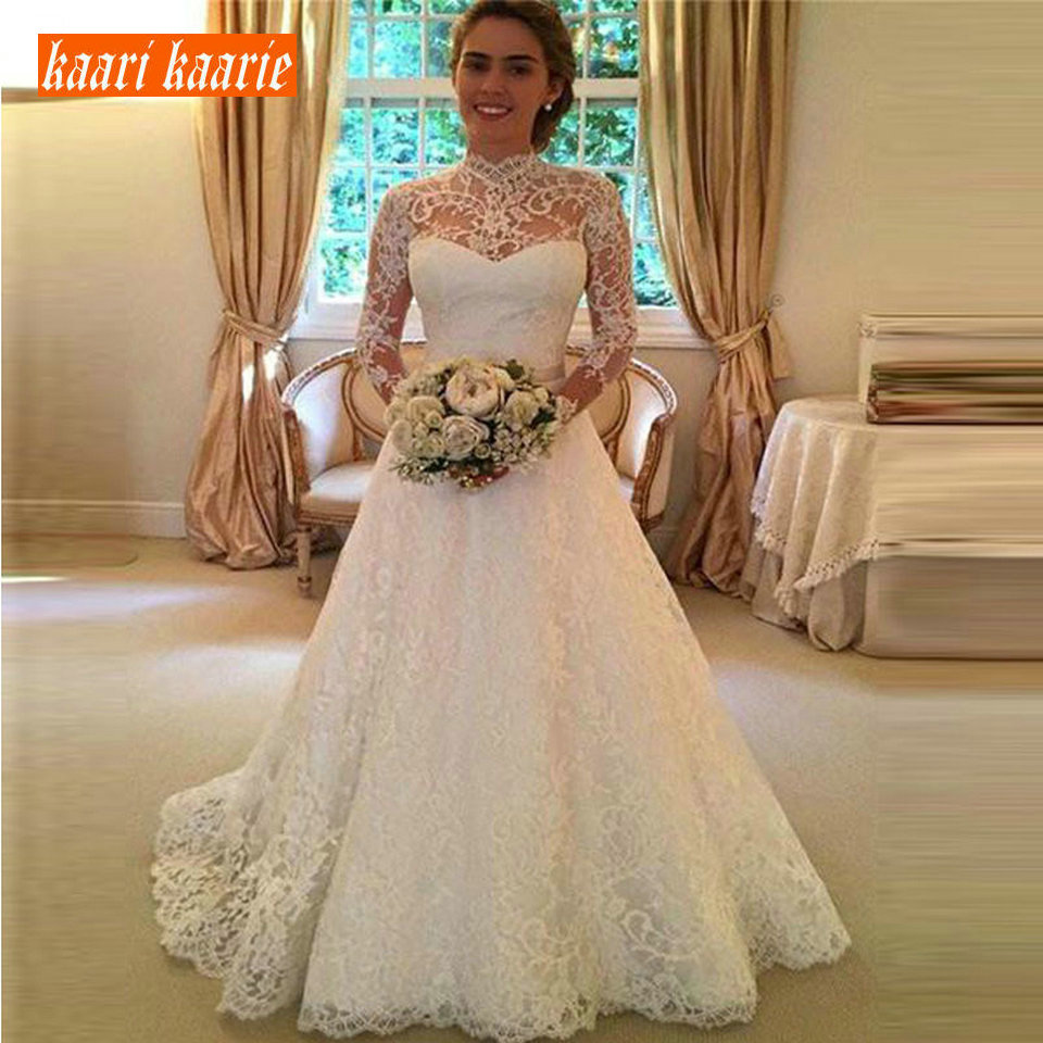 a84d8e80f86ec Elegant Bohemian Ivory Lace Long Wedding Dress 2019 Sexy Wedding Gowns  Women High-Neck Backless A-Line Cheap Lady Bridal Dresses - Western Garments