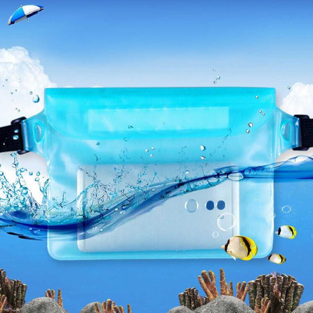 Unisex Tahan Air PVC Transparan Kecil Musim Panas Pantai Tas Drifting Pinggang Pack Triple Disegel Kantong Ponsel