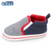 Baby Toddler First Walkers Shoes Newborn Girl Boy Sneakers Fashion Soft Bottom Stripe Canvas Infant Crib Shoes 0-18 Months