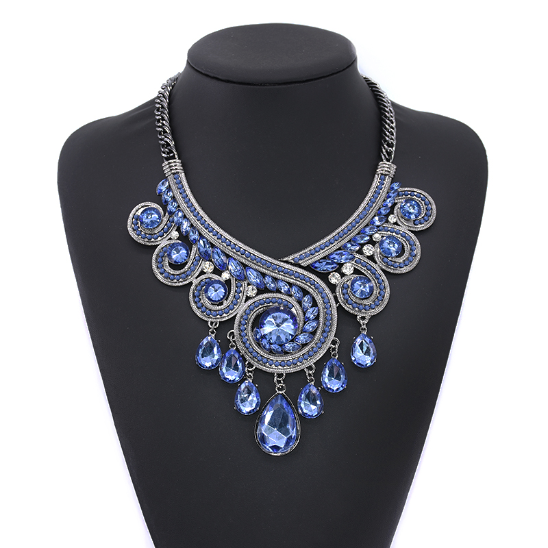 PPG & PGG Bohemia Chunky Chainky Statement Women Blue Crystal - Модні прикраси - фото 6