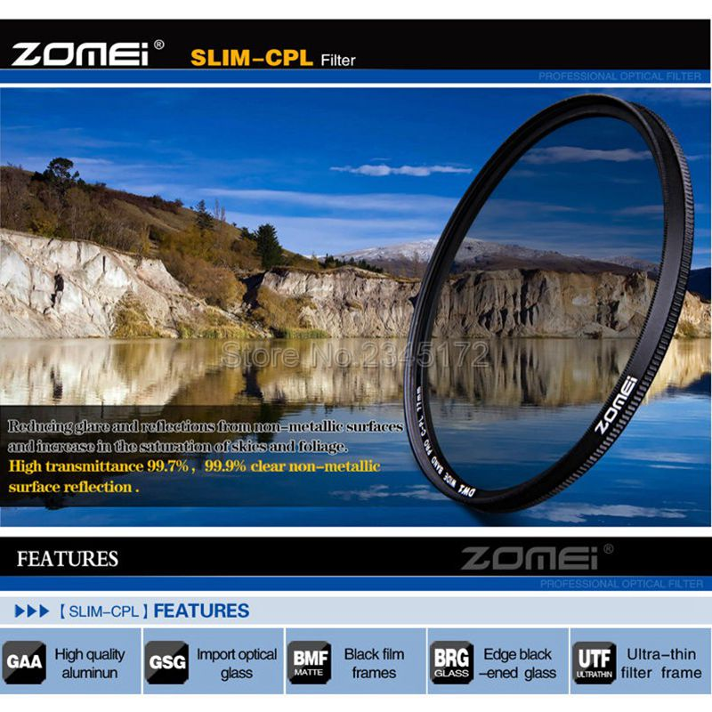 Zomei 77mm Ultra Slim CPL Filter CIR PL Circular Polarizing Polarizer Filter for Olympus Pentax Hoya