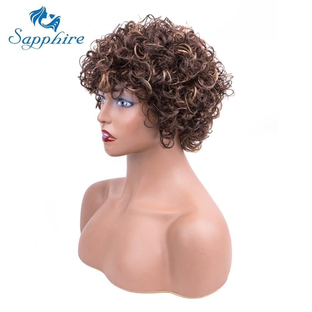 Sapphire hair Short Wigs curly For Women Human Hair Wigs Non Lace Wig Peruvian Hair Wigs