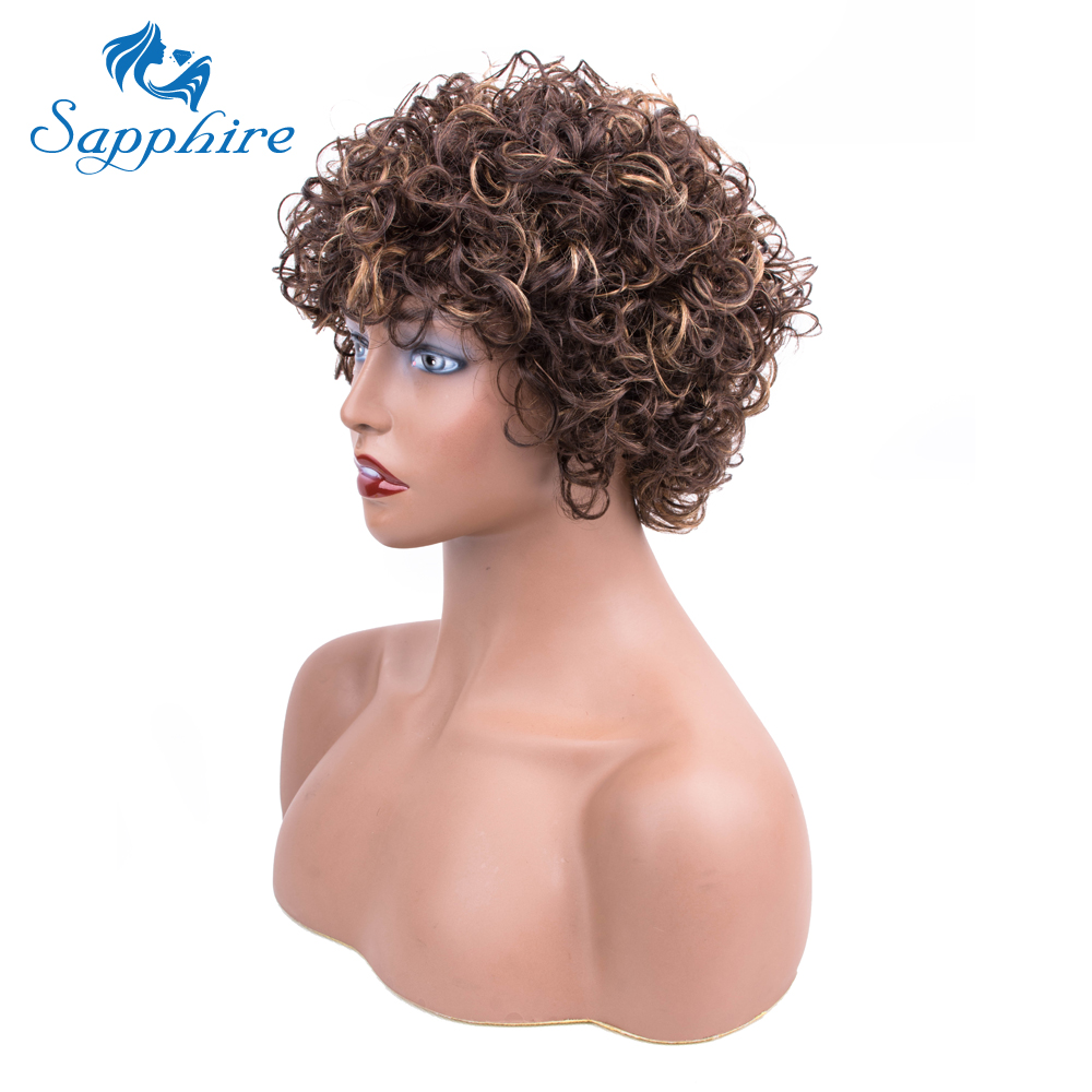Sapphire Hair Short Wigs Wavy curly For Women Human Hair Wigs Natural Brown Curly Short Bob Wig Peruvian Human Hair Wigs-in Human Hair Lace Wigs from Hair Extensions & Wigs    1