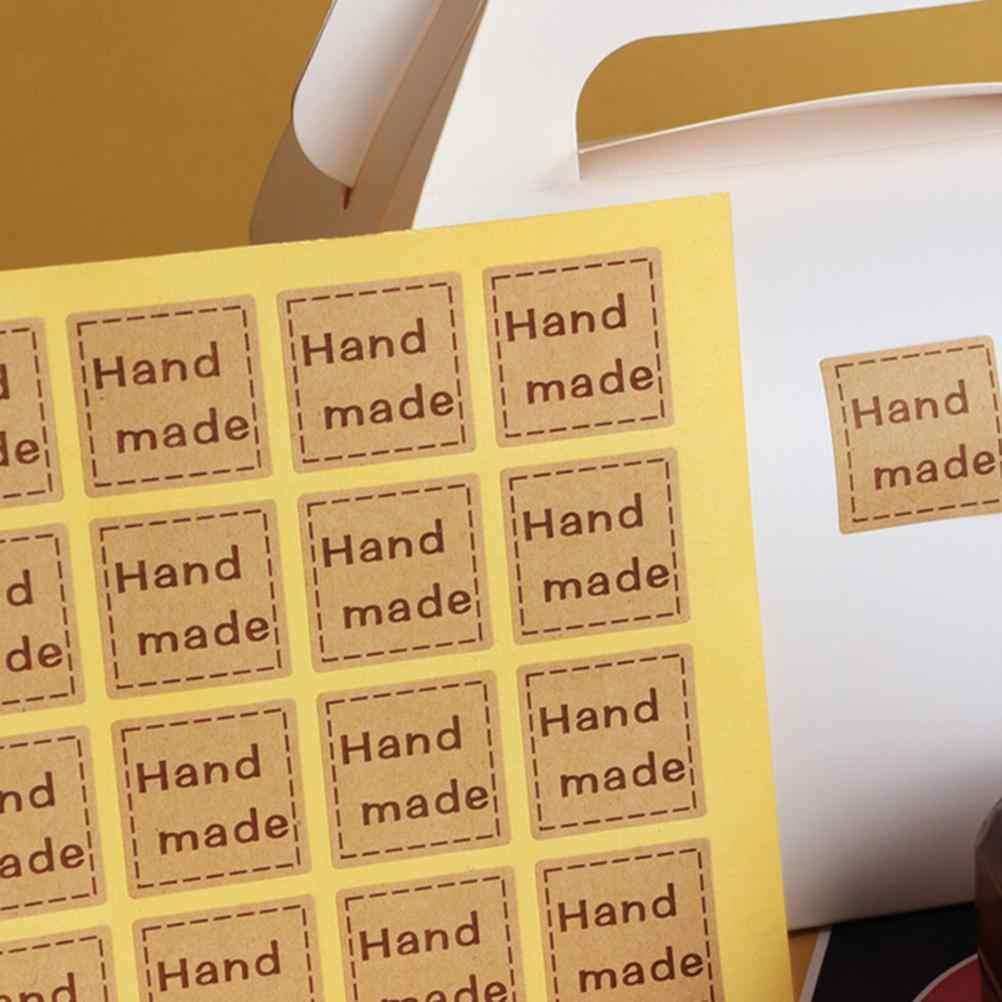 20 unids/set DIY Kraft etiqueta cuadrado hecho a mano pegatinas diario Memo pegatina Scrapbooking Decoración