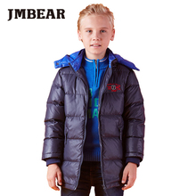 JMBEAR boys thick down coat lengthen winter jacket hooded snowsuit for 6-16 years children clothing