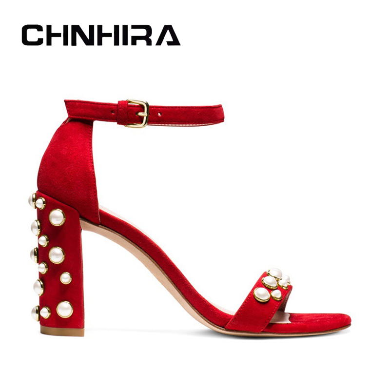 ФОТО summer sandals women thick high heel sandal with pearl shoes for ladies party and wedding sexy pumps CH808