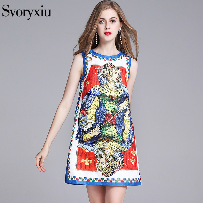 SVORYXIU 2018 Vintage Runway A-Line Dress Womens High Quality Beading Crystal Diamonds Playing Cards Printed Tank Dress