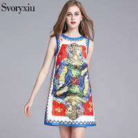 SVORYXIU 2018 Vintage Runway A Line Dress Women S High Quality Beading Crystal Diamonds Playing Cards