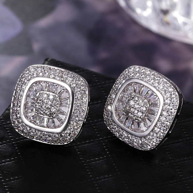 Latest Design Square shape Clear white Zircon Women Fashion Micro Pave Bridal Wedding Fashion Jewelry Class Stud Earrings female